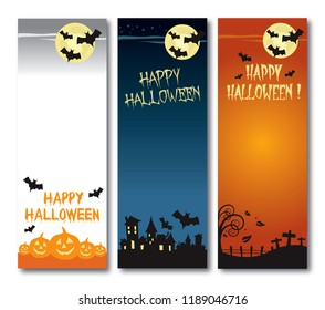Happy Halloween vector illustration vertical banner set flat design no shadow on the eps.10