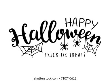 Happy halloween. Vector illustration with web and spider.  Trick or treat