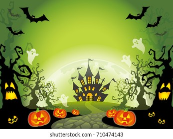A Happy Halloween vector landscape illustration with a haunted mansion in the forest.