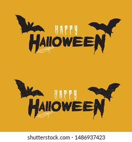Happy Halloween Vector Lettering Handwritten Calligraphy with web spiderman with texture for poster , banner , tshirt , party invitation