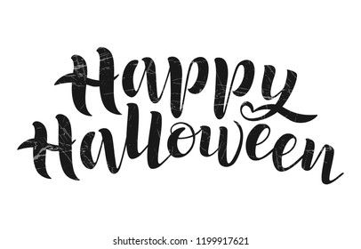 Happy Halloween vector lettering. Holiday calligraphy of Happy Halloween text for banner, poster, greeting card, party invitation. Halloween Illustration texture background. EPS 10