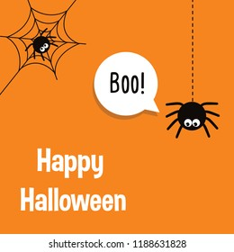 Happy Halloween vector lettering with spider and web. Vector Illustration for Haloween invitation card, banner, poster, greeting card.