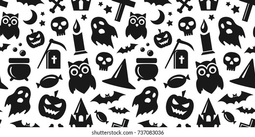 Happy Halloween. Vector seamless pattern in black and white colors with pumpkin, bats, ghost and skull icons.