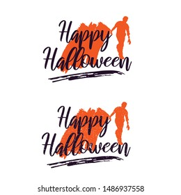 Happy Halloween Vector With Zombie Lettering Handwritten Calligraphy with web spiderman with texture for poster , banner , tshirt , party invitation