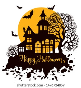 Happy Halloween vintage greeting card, vector illustration for design, invitation, bsnner, print. Silhouette of halloween house, full moon, trees and bats.