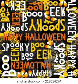 Happy halloween white black yellow orange letters and sweets autumn holiday colorful seamless pattern on dark background
