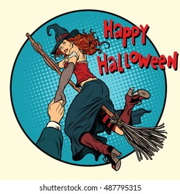 Happy Halloween witch on a broomstick follow me, pop art retro vector illustration. Woman in holiday costume