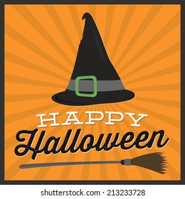 Happy Halloween Witches Hat and Broom Vector
