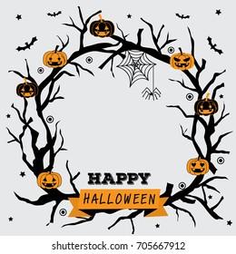 Happy halloween wreath design with black branch and pumpkin.