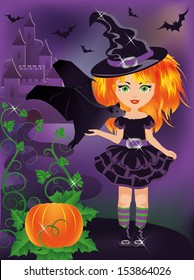 Happy halloween. Young witch with a bat. vector illustration
