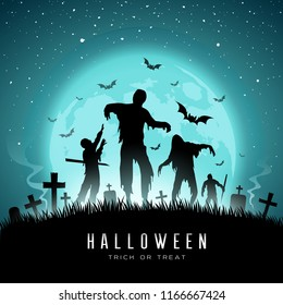 Happy Halloween Zombies and bat on full moon background, Vector illustration