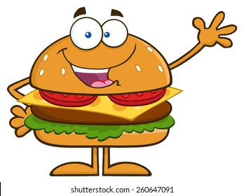 Happy Hamburger Cartoon Character Waving. Vector Illustration Isolated On White