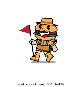 Happy Hamburger Walking with Flag, Burger Tourist Cartoon