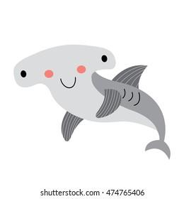 Happy Hammerhead Shark animal cartoon character isolated on white background.