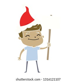 happy hand drawn flat color illustration of a man with placard wearing santa hat
