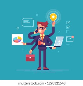 Happy handsome office worker with many hands doing several actions at the same time. Multitasking, productivity and time management concept. Flat vector illustration.