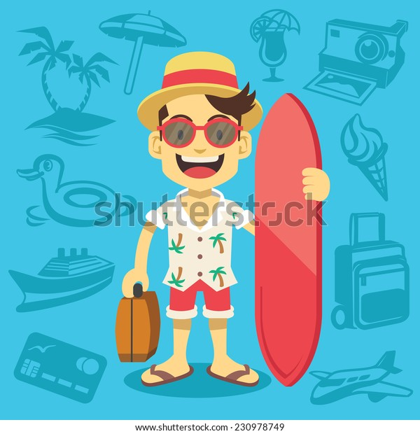 Happy handsome tourist mascot. Creative flat vector illustration. Trendy blue background with travel and tourism icons, signs and symbols. Awesome graphic design elements.