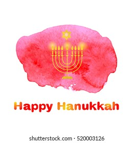 Happy Hanukkah background with candles and David Star on a watercolor background red spot. Vector illustration.