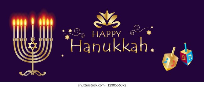 Happy Hanukkah banner traditional Jewish Holiday Hanuka festival of lights symbols gold decoration. Chanukah Gold Menorah, candelabrum & candles, wood dreidel, festive bokeh lights background vector.