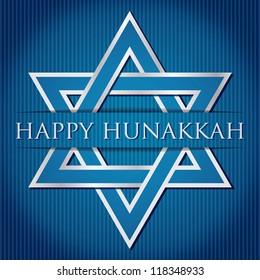 """Happy Hanukkah"" blue star of David card in vector format."