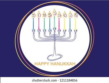 Happy Hanukkah card. Hand drawn Menora and colorful candles with face, White circle and Blue background