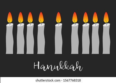 Happy Hanukkah card with menora. Jewish holiday background. David Star. Poster print typographic inscription.Vector illustration.