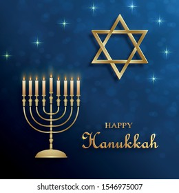 Happy Hanukkah card with nice and creative symbols and gold paper cut style on color background for Hanukkah Jewish holiday