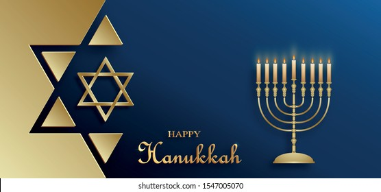 Happy Hanukkah card with nice and creative symbols and gold paper cut style on color background for Hanukkah day and Hanukkah Jewish holiday