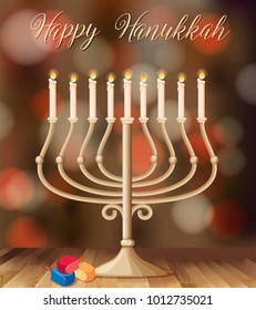 Happy Hanukkah card template with candleholder with lights illustration