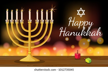 Happy Hanukkah card template with symbols and lights illustration