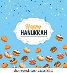 happy hanukkah celebration with sweet breads