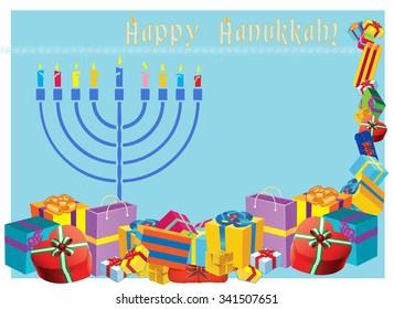 Happy Hanukkah colorful holiday vector illustration with menorah and holiday presents.