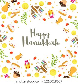 Happy Hanukkah festival background with decorated with food elements and candelabra for Jewish Holiday celebration.