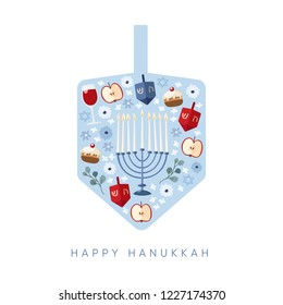 Happy Hanukkah, Festival of Light greeting card, invitation with Jewish symbols. Dreidel toys, apples, doughnuts, Chanukia candle holder, David stars and flowers. Vector illustration background.