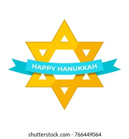 Happy Hanukkah. Hanukkah flat design - golden star with blue ribbon on white background. Vector illustration EPS 10