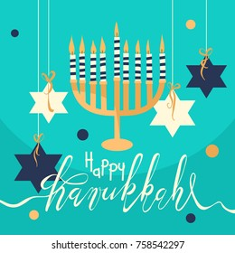 Happy Hanukkah greeting card, background. Hand rawn vector illustration. Beautiful menorah with candles and handning David stars with lettering/calligraphy greetings
