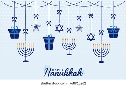 Happy Hanukkah Greeting card or background. vector illustration.