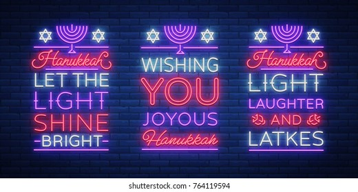 Happy Hanukkah, a greeting card collection in a neon style. Vector illustration. Neon luminous text on the subject of Chanukah. Bright banner, luminous festive sign. Jewish holiday.