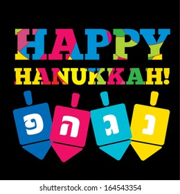 """Happy Hanukkah greeting card design. Vector illustration. With Hebrew letters """"Great Miracle Happened Here"""""""