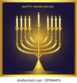 Happy Hanukkah greeting card design. Vector illustration.