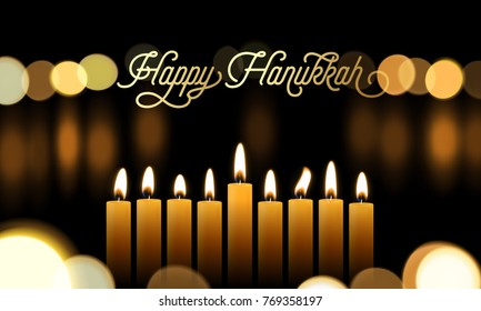 Happy Hanukkah greeting card of golden font and candles for Jewish holiday design background. Vector Chanukah or Hanukah lights festival golden calligraphy and menorah candelabrum bokeh light