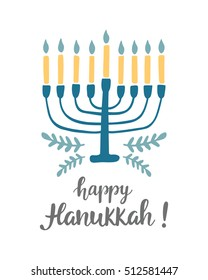 Happy Hanukkah greeting card with hand written modern brush lettering and menorah. Jewish holiday elegant banner template. Flyer, poster, label sticker, invitation design. Vector illustration