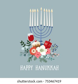 Happy Hanukkah greeting card, invitation with hand drawn candleholder, dreidle, donut and floral bouquet. Vector illustration for Jewish Festival of light.