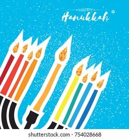 Happy Hanukkah Greeting card. Hanukkah jewish vector illustration. jewish menorah. Hanukkah candles symbol. gold glitter flame. Vector illustrator