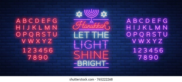Happy Hanukkah, a greeting card in a neon style. Vector illustration. Neon luminous text on the subject of Chanukah. Bright banner, luminous festive sign. Jewish holiday.