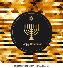 Happy Hanukkah greeting card on the gols abstract triangle background