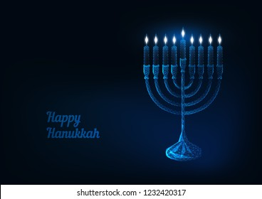 Happy hanukkah greeting card template with glowing low poly traditional jewish menorah with burning candles and text happy hannukah on dark blue background. Modern wireframe design vector illustration