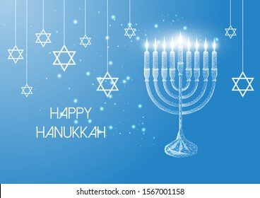Happy Hanukkah greeting card template with glowing low polygonal menorah and burning candles on blue background. Modern wire frame mesh design vector illustration.