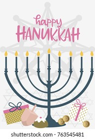 Happy Hanukkah greeting cards, flyer, poster. Hanukkah card of templates for your invitation design. Editable vector illustration