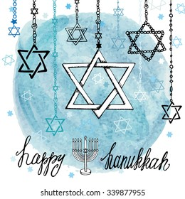 Happy Hanukkah Greeting card.Star of  David in Doodle style.Menora,watercolor blue circle splash,text.Hand drawing jewish decor.Vector background.Square Illustration